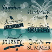 Vintage summer calligraphic elements design labels collection. V — Stock Vector