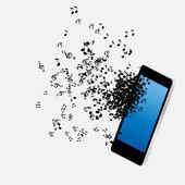 Mobil müzik telefon vektör çizim — Stok Vektör