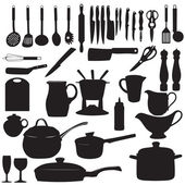 Kitchen tools Silhouette Vector illustration — Stock Vector