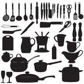 Keuken tools silhouet vectorillustratie — Stockvector