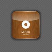 音乐木材应用程序图标 — 图库矢量图片