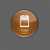 Food and drink wood application icons — Stock Vector