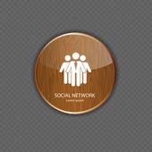 Icone di applicazione legno rete sociale — Vettoriale Stock