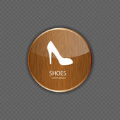 Shoes wood application icons — Stock Vector