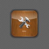 Iconos de aplicación madera herramientas vector illustration — Vector de stock