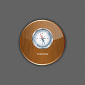 Glossy Compass. Vector Illustration wood application icons — Stock Vector