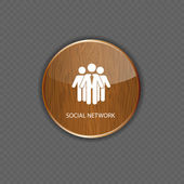 Social network wood application icons — Stock Vector