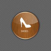 Icone di applicazione legno scarpe — Vettoriale Stock