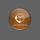 Customer service wood application icons — Stock Vector