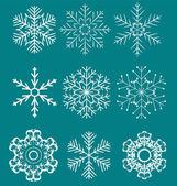 Set di fiocchi di neve bella illustrazione vettoriale — Vettoriale Stock