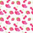 Seamless pattern with heart, cherry, strawberry. Vector illustra — 图库矢量图片