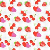 与心、 樱桃、 草莓的无缝模式。矢量伊路斯特拉 — 图库矢量图片