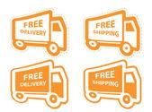 Spedizione gratuita, consegna set di icone. illustrazione vettoriale — Vettoriale Stock