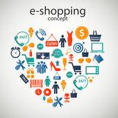 E-shopping concept icons vector illustration — Cтоковый вектор