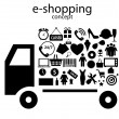 E-shopping concept  icons vector illustration — Stock Vector