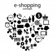Stock Vector: E-shopping concept icons vector illustration