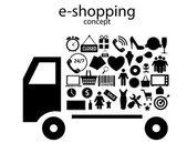 E-shopping concept iconen vector illustratie — Stockvector
