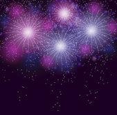 Glossy Fireworks Background Vector Illustration — Vettoriale Stock