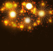 Glossy Fireworks Background Vector Illustration — Stock Vector