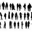Set of Silhouette Walking People and Children. Vector Illustrati — Stock Vector