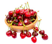 Cherry in bowl isolated on white background — Stock Photo