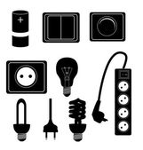 Electric accessories silhouette icons vector illustraton — Stock Vector