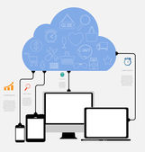 Cloud Computing Concept on Different Electronic Devices. Vector — Cтоковый вектор