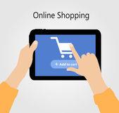 Online Shopping Flat Concept Vector Illustration — Vettoriale Stock