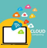 云计算的概念在不同的电子设备上。矢量 — 图库矢量图片