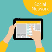 Using Social Network Concept Flat Vector Illustration — Stock vektor