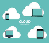 Cloud Computing Concept on Different Electronic Devices. Vector — Stock Vector
