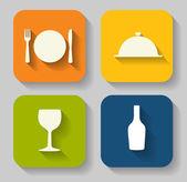 Icona moderna piatto cibo per web e mobile applicazione in styl — Vettoriale Stock