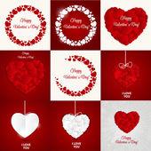 Big Set of Happy Valentines Day Card with Heart. Vector Illustra — Stockvektor