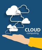 Concepto de Cloud computing en diferentes dispositivos electrónicos. Vector — Vector de stock