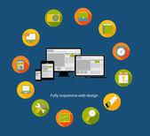 ícone de projeto web responsivo. ilustração vetorial — Vetor de Stock