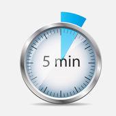 Silver Watch Designation 5 Minutes. Vector Illustration — Stock Vector