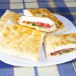 Stock Photo: PitBread with Cheese, Tomato and Herbs