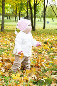 A Child in the Autumn on the Nature. — Stock Photo