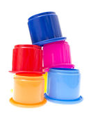 Childs Toy Stacking Cups Isolated on White Background — Stock Photo