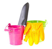 Bucket, Shovel, Seeds, Dlay Isolated on White — Zdjęcie stockowe