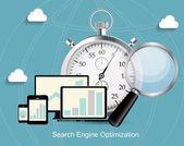 SEO - Search Engine Optimization Flat Icon Vector Illustration — Stok Vektör