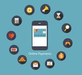 Online Payments Flat Concept Vector Illustration — Stockvector