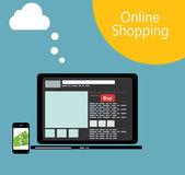 Online Shopping Flat Concept Vector Illustration — Stockvector