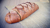 Fresh Tasty Bread on Woody Background — Photo