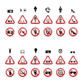 Set of Prohibition Signs. Vector Illustration — Stockvektor