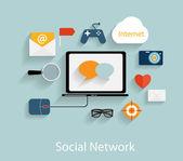 Social Network Concept Flat Vector Illustration — Stock Vector