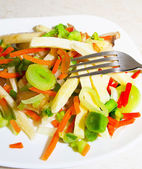 Steamed vegetables: potatoes, carrots, onions, mushrooms — Stock Photo