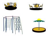 Set of Silhouette Swing Black on White Background. Vector Illust — Stok Vektör