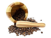 The mortar , coffee beans isolated on white background. — Stock Photo