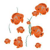 Orange Fishes Swim — Cтоковый вектор
